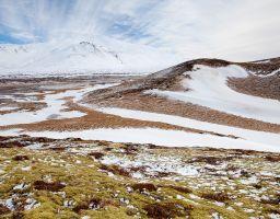 Himmel Wolken Moose Flechten Schnee Berg