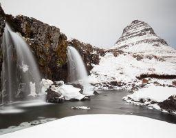 Wasserfall Schnee Gischt Berg Fels Fluss