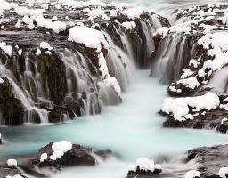 Winter Wasserfall Fluss Schnee Fels