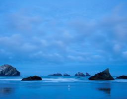 Strand Felsen Meer Küste Blaue Stunde