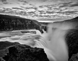 Wasserfall Fels Fluss Berg Gischt