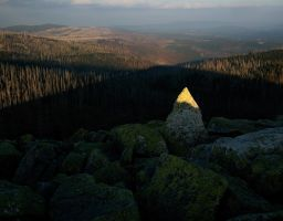 Berg Sonnenuntergang Fels Stein Wald