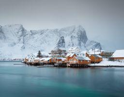 Dorf Insel Winter Meer