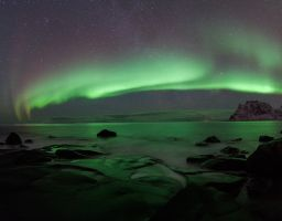 Nordlicht Polarlicht Meer Felsen